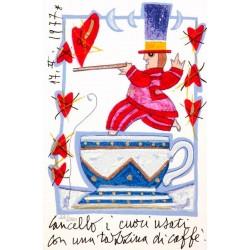 Cancello i cuori usati con una tazzina di caffè Serigrafia 17x11
