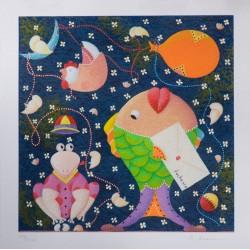 Il valletto pesce Serigrafia 35x35